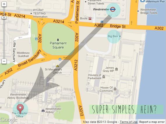 O Big Ben tá ali no meio só pra você se localizar, ok? :) O importante é ver que a estação de metrô Westminster (linhas: Circle - amarela; District - verde e Jubilee cinza) está bem pertinho da Abadia!