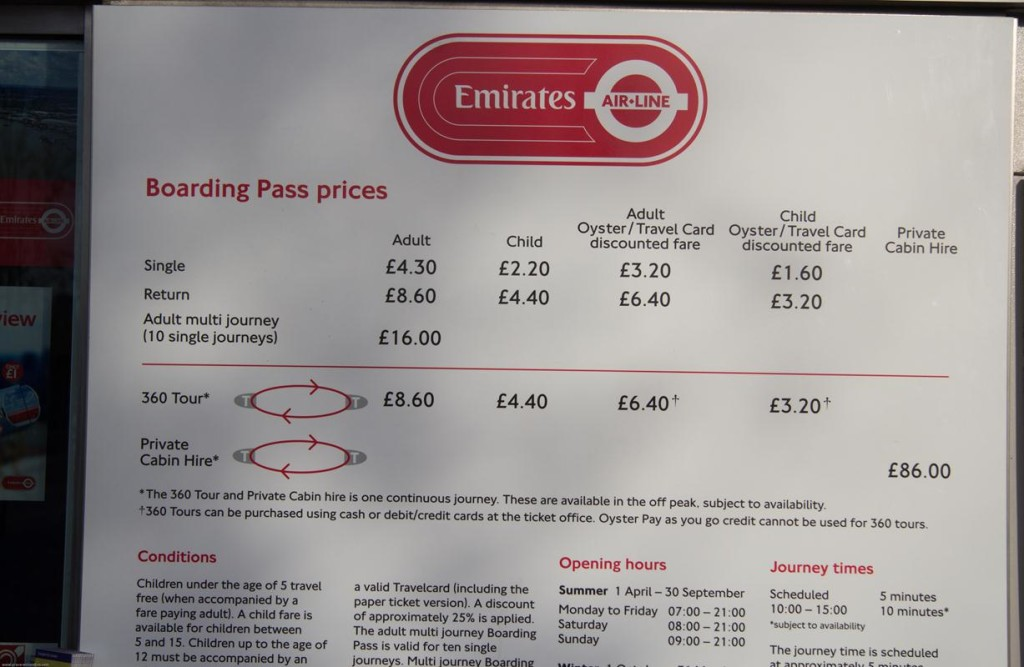 prices Emirates AIr Line London